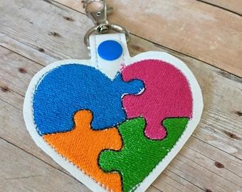 Autism Awareness Heart Shaped snap tab