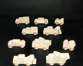 10 Handcrafted Wood Toy  Trucks  OT- 9 unfinished or finished