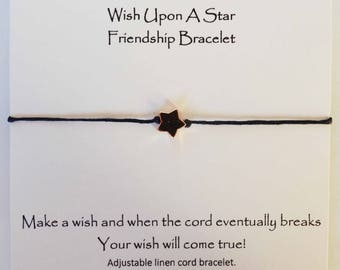 Wish upon a star friendship bracelet, star adjustable cord bracelet, star charm bracelet, star wish bracelet, star wish bracelet, cord wish