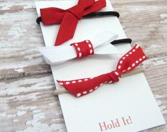 Red Ponytail Bow Elastic, Girls Ponytail Elastic, Bow Ponytail Holder, Womens Pontail Holder,  Hair Tie, Set of 3