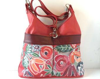 Large hand painted  leather Tote, red shoulder bag, floral design