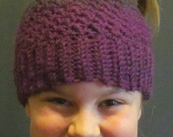 Messy Bun Hat ~ Size Medium ~ Gray and Purple