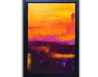 Framed Original Painting Sunset Abstract by Erin Ashley