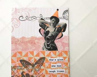 Handmade Greeting Card - vintage inspired, OOAK collage -- She's glad she has laugh lines - butterfly, music - friendship, birthday card