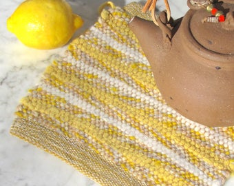 French Country Kitchen Pot Holder Cooking Hot Mat, Lemon Yellow Artisan Hand Woven Recycled Wool Rag Trivet, Rustic Farmhouse Decor, Gift