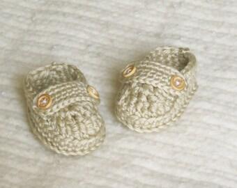 Crochet baby loafers, crochet baby booties, 0 to 3 months, cream, baby girl, baby boy, baby gift