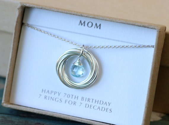 70th Birthday Gift For Mom Jewelry For Grandma Gift From