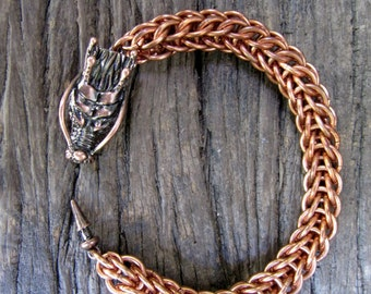 Solid Copper Chainmaille Dragon Bracelet