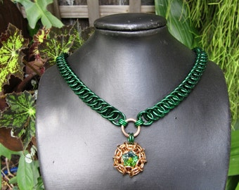 Emerald Green Chainmaille with Phaedra Pendant