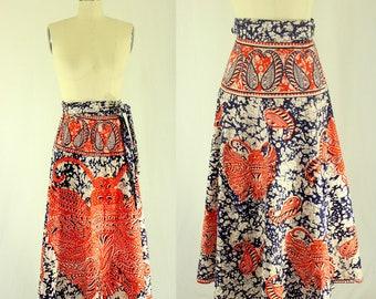 1970's Boho Indian Batik Wrap Skirt Hippie Boho Psychedelic