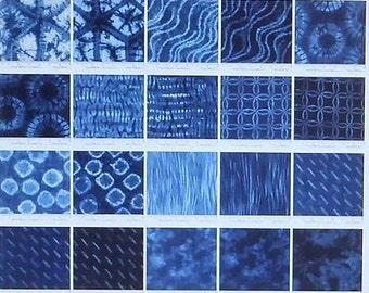 Shibori 20 Fat Quarter Bundle - Moda Fabrics Blue and White Tie Dye Modern Fabric