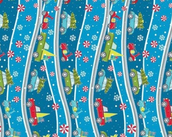 Mulberry Lane from Benartex - Full or Half Yard Cars, Trucks, Scooters with Christmas Trees and Snowflakes on Teal Blue - Curved Stripe