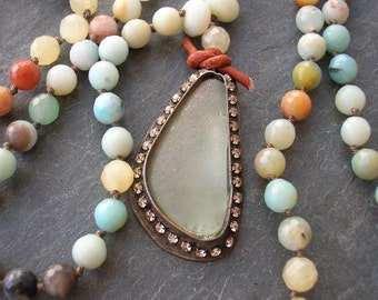 Knotted sea glass and gemstone necklace - Castaway - beach pendant necklace long beaded necklace seafoam green aqua blue rhinestones