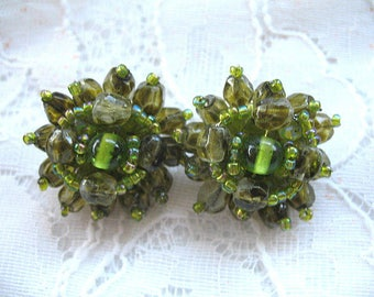Vintage Cluster Earrings ~ Clip On ~ Green Glass Beads