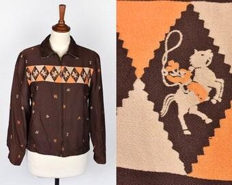 1950's Gabardine Cattle Brand Print Reversible Ricky Jacket