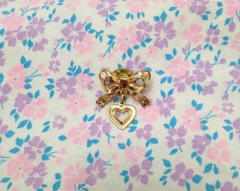 SALE Vintage 1980s Bow with Dangly Heart Pin Brooch