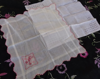 "Two vintage lovely handkerchiefs - one Monogrammed with a ""K"""
