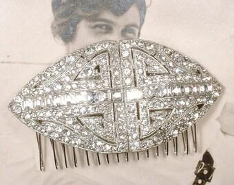 Vintage 1920s Wedding Dress Sash Brooch/Bridal Hair Comb,Pave Rhinestone CORO Art Deco Duette Clip Hollywood Glam Hairpiece Gatsby Headpiece