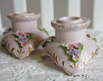 Shabby Chic Candle Holders - Pink floral