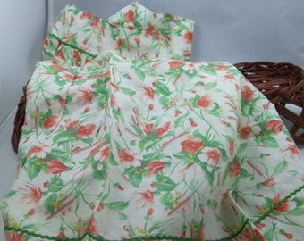 SALE 50% OFF Vintage Half Apron green and pink floral