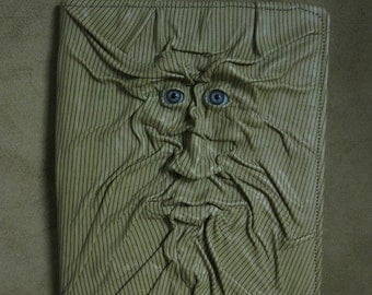 "Grichels leather large padfolio - ""Skrishal"" 29137 - sandy tan and green pinstriped with stormy blue human eyes"