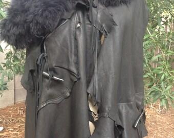 showdiva designs Asymmetrial Leather Cape Coat Poncho Deerskin Fringe Toscana Removable Collar Tattered