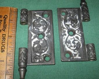 Antique Victorian Ornate Embossed Door Hinge Edwardian Hardware Altered Art Assemblage Piece Restoration Hardware