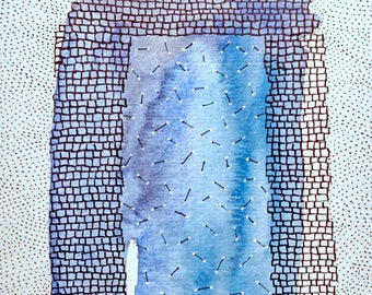 Watercolor and Ink Drawing / Arch / Portal / Gateway into Blue / Daily Drawing for April 27, 2017