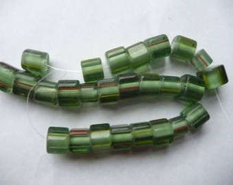 SALE!! Bead, cane glass, light green with multicolored stripes, 10x8mm-12x9mm round tube with stripes.  Strand of 26 beads. SALE!!