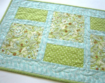 Quilted Table Runner, Table Runner Flowers, Handmade Table Runner, Home Decor, Blue Green Runner, Floral Table Runner, Dots, Summer Decor
