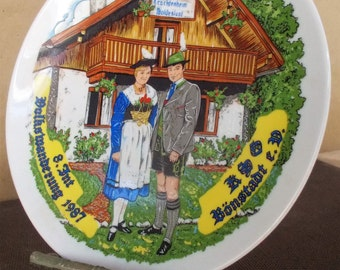 Vintage Kitsch Bavarian Germany Souvenir Plate
