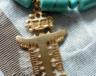 Necklace with Angel Precolombino Gold Pendant and Turquoise  Beads.