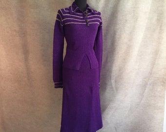 Vintage 40's Knit Skirt and Sweater Set, Purple Knit Wiggle Dress, Rockabilly, Bombshell, Size Small