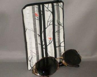 Eyeglass or Sunglasses Case - Zipper Top - Padded Zippered Pouch - Birch Trees - Red Bird