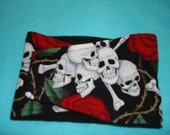 Absorbent, Waterproof,  Washable, Reusable Belly Band - Male Dog Diaper - Skulls and Roses -  Available in all Sizes
