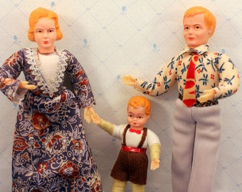 Miniature Dollhouse Family Dolls by Concord Mother Father Boy 1970s C
