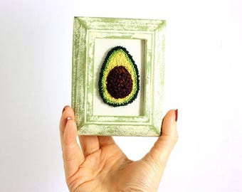 Avocado Embroidery in a Mini Weathered Green Frame. Fiber Art. Punchneedle Embroidery. Home Decor. Green, Brown, Yellow. Avocado