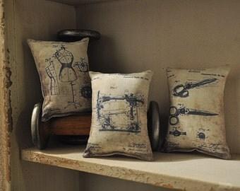 3 Patent Drawing mini pillows