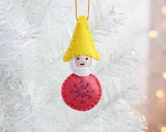 Gnome Ornament, Handmade Christmas Ornament, Elf, Felt Ornament, Holiday Decoration, Hand-stitched, ready to ship