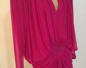 Hot Pink Huge Shoulders Drop Waist Flowing Vintage WAYNE CLARK Deco Revival Party Dress 6