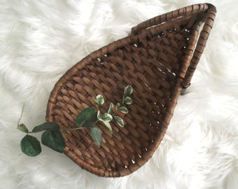 Boho Basket Planter Bohemian Wall Basket Air Plant Holder Jungalow Decor Woven Rattan Basket Mid Century