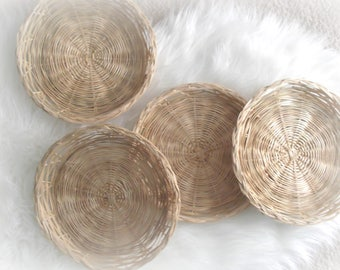 Vintage Round Wicker Trays Rattan Plate Chargers Set of Four