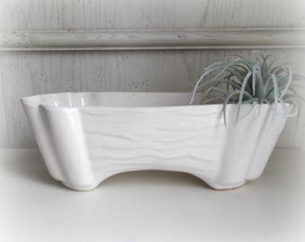 Vintage White Planter Mid Century Pottery Modern Farmhouse Plant Pot Succulent Planter
