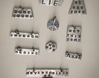 Inspirational quote jewelry, hand stamped charms, women's march jewelry, she persisted, we got this, peace sign jewelry, silver charms