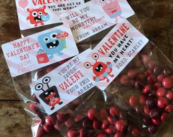 Monster Valentine Stickers - Labels and Resealable Treat Favor Bags Set of 20