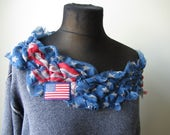 RESERVED Tattered Off Shoulder American Flag Sweatshirt, USA Shirt, Upcycled Recycled Repurposed Clothing, 4th of July Shirt, Fourth of July