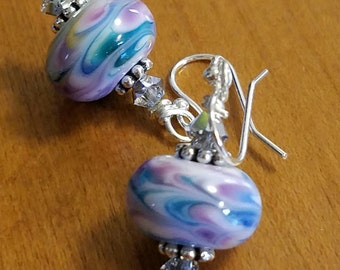 Blue & Purple Swirl Lampwork Bead Sterling Silver Earrings