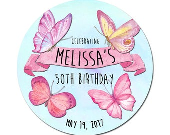 Custom Birthday Labels Personalized With Watercolor Pink Butterflies Round Glossy Favor Stickers For Birthdays or Any Occasion