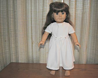 White Party Doll Dress with Flowers for 18 inch Dolls