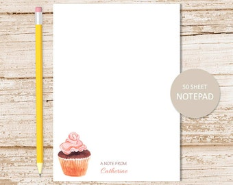 personalized notepad, note pad . cupcake notepad . watercolor cupcake . sweets . personalized stationery . stationary gift